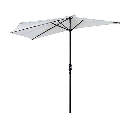 Outsunny Sonnenschirm Kurbelschirm Gartenschirm Schirm Marktschirm, Metall, halbrund, Cremeweiß