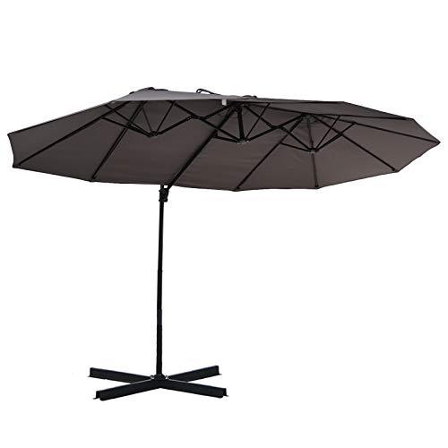 Outsunny Sonnenschirm mit Kurbel, Doppelschirm, Verstellbarer Gartenschirm, Sonnenschutz