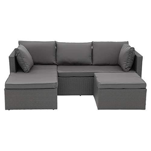 Variable Loungeecke Aluminium/Polyrattan Geflecht inklusive Polster aus Polyester Sitzecke, Outdoorgruppe