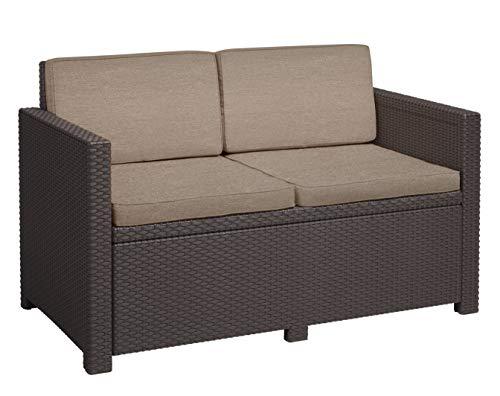 Gartenlounge Sofa Victoria, braun/taupe, 2-Sitzer, inkl. Sitz- und Rückenkissen, Kunststoff, flache Rattanoptik