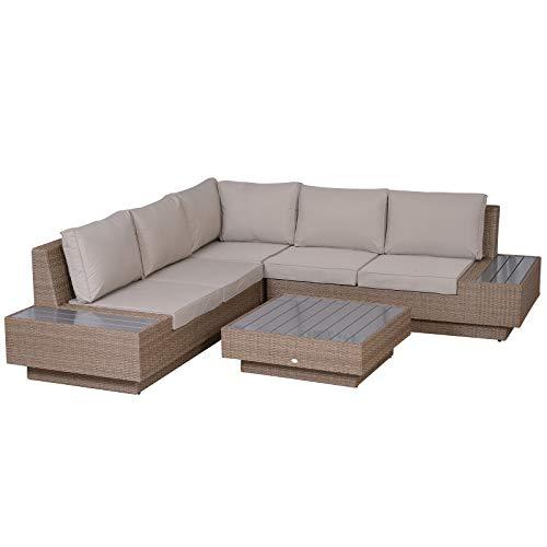 Luxus Polyrattan Gartengarnitur Gartenmöbel Garten-Set Sitzgruppe Loungeset Loungemöbel inkl. Ablagen und Beistelltisch Sitzkissen