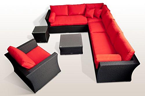 Ragnarök-Möbeldesign PolyRattan – Lounge Garten Möbel Glas und Polster Gartenmöbel Aluminium Sofa