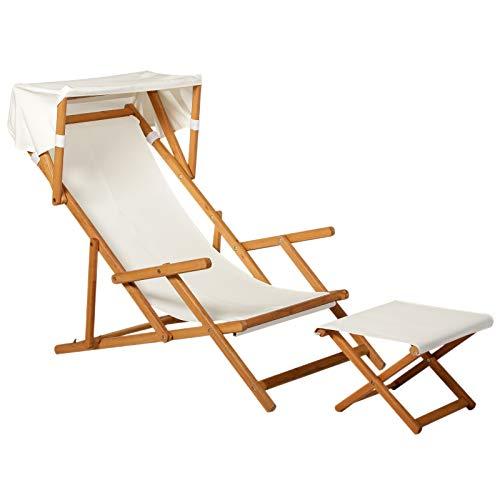 Outsunny Sonnenliege Gartenliege Relaxliege verstellbar Liegestuhl Relaxsessel Gartenmöbel mit Sonnendach