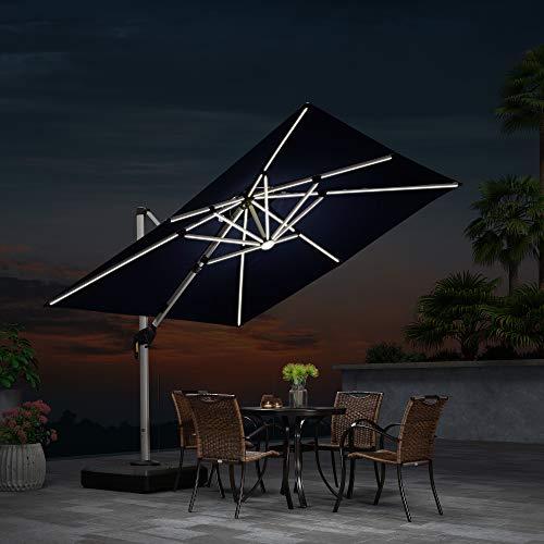 Quadratischer Sonnenschirm mit Solar LED Beleuchtung Gartenschirm Kurbelschirm Ampelschirm Terrassenschirm