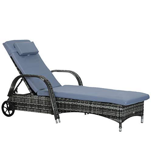 Outsunny Gartenliege Sonnenliege Rattanliege Gartenmöbel Liege mobil mit Kissen, Polyrattan+Metall