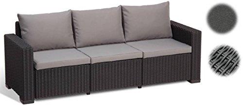 Gartenlounge Sofa California 3-Sitzer, graphit grey, inkl. Sitz- und Rückenkissen, Kunststoff, runde Rattanoptik