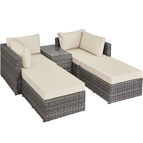 Aluminium Polyrattan Multifunktions Loungegruppe Gartensofa mit Tisch, für Garten oder Terrasse