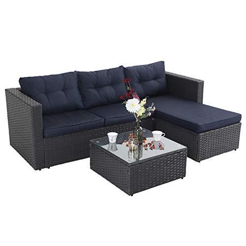 PHI VILLA Rattan Gartenmöbel Sets, Sitzgruppe Polyrattan Lounge Sets 3 Teilig mit Glastisch Outdoor, Sofa-Garnitur