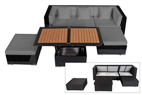OUTFLEXX Loungemöbel-Set schwarz aus Polyrattan-Geflecht Loungeecke für 5 Personen Kissenbox inkl. Loungetisch