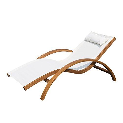 Outsunny Sonnenliege Gartenliege Liegestuhl Relaxliege Liege Relaxsessel mit Kopfkissen Lärche