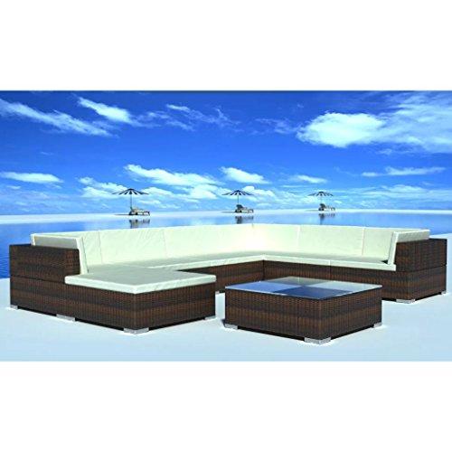 Anself Rattan Lounge Set Loungemöbel Loungeset Loungegruppe 24-teilig