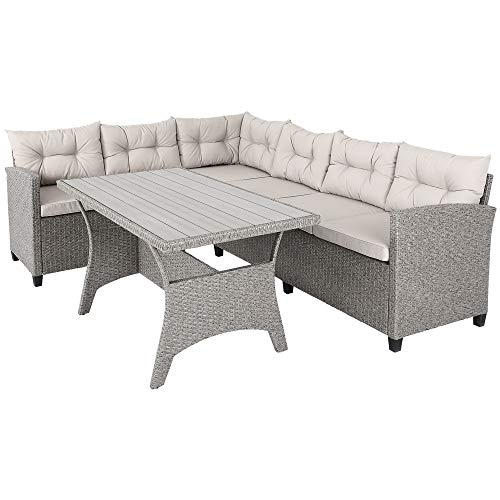 Deuba Poly Rattan Sitzgruppe Ecklounge 7cm Dicke Auflagen WPC Tischplatte Grau Beige