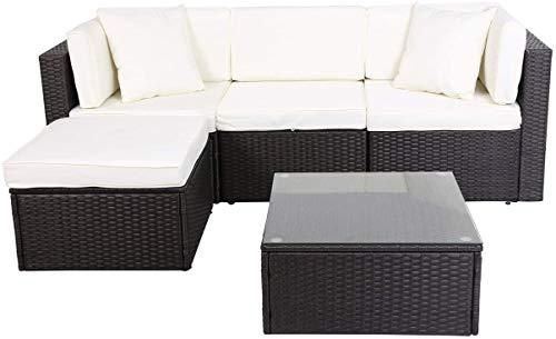Polyrattan Lounge Sitzgruppe Gartenmöbel Garnitur Poly Rattan Couch-Set in Braun-schwarz mit Bezügen in Creme