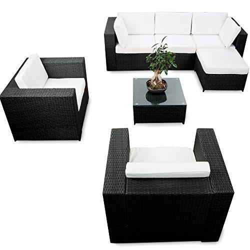 Garten Ecksofa Loungemöbel XXL Lounge Rattan Eckset XXL schwarz Gartenmöbel Sitzgruppe Garnitur Gartenlounge Set