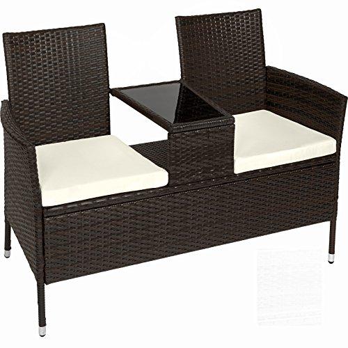 Sitzbank mit Tisch aus Polyrattan- hübsches Gartensofa inkl. Sitzkissen